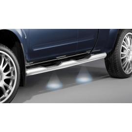 Boční rám s nášlapy s LED osvětlením, nerezová ocel Ø 80 mm pro Nissan Pick Up Navara D40